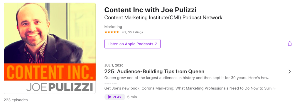 content inc podcast for marketers